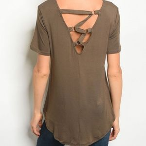 Very J Criss Cross Lace Up Back Olive Jersey Tee